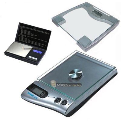Momert 5831 200 kg digitális személymérleg + Momert 6850 5 kg digitális konyhamérleg + ES-300AX 300g/0,01g digitális precíziós zsebmérleg ajándékcsomag