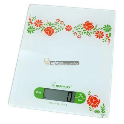 Momert 6852 (5kg/1g) kalocsai mintás konyhai mérleg