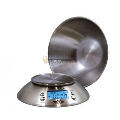 MyWeigh Steele (5kg/1g) tálas, rozsdamentes acél digitális konyhai mérleg hőmérővel, időzítővel
